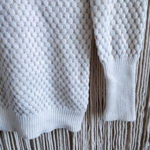 Shrinking Violet Sweaters - Shrinking Violet White Chunky Knit Pom Pom Hoodie